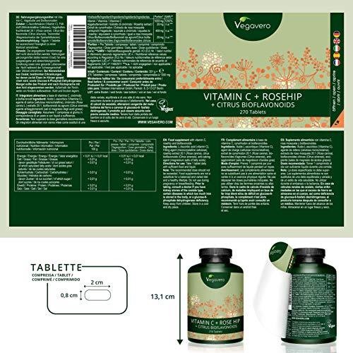 Vitamina C Vegavero® 1000 mg | 270 Comprimidos | Con Bioflavonoides + Rosa de Mosqueta | Vegana | Previene Resfriados y Gripes + Refuerza las Defensas: ...
