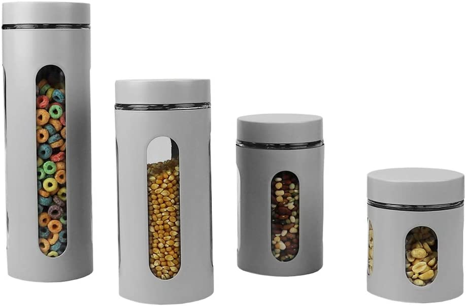 Home Basics 4-Piece Glass Canister Cylinder Set with Clear Window (Grey)