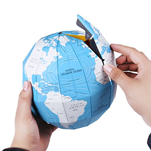 Model Cross Earth Section (3D Globe Puzzle Earth World Map Geology Sciences Education Spherical Puzzle Ball DIY Assemble Vertical World Building Model Planet Preschool Education for Kids Child 7.8 Inch Not Only Jigsaw(Blue))