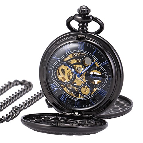 Pocket Watch Skeleton Mechanical Double Case Hand-wind SIBOSUN Black Blue Roman Numerals Antique Chain