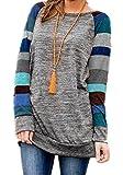 HARHAY Women's Cotton Knitted Long Sleeve Lightweight Tunic Sweatshirt Tops A7, Blue, US12-14/XXL