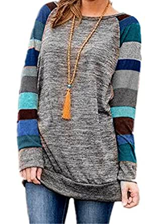 HARHAY Women's Cotton Knitted Long Sleeve Lightweight Tunic Sweatshirt Tops Blue S/US2-4