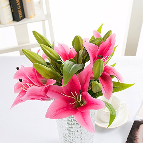 Mynse Pack of 5 Pieces Artificial Flowers for Home Wedding Graves Party Decoration Nearly Natural Artificial Lillies Flowers Pink