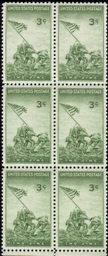 3 Cent Postage Stamp (BATTLE OF IWO JIMA ~ WWII #929 Block of 6 x 3 cents US Postage)