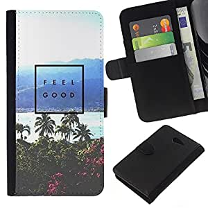 Supergiant (Feel Good Poster Palm Tree Tropical Sea) Dibujo PU billetera de cuero Funda Case Caso de la piel de la bolsa protectora Para Sony Xperia M2 / M2 dual