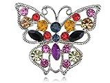 Alilang Vivid Ruby Green Black Colorful Crystal Rhinestone Butterfly Fashion Pin Brooch