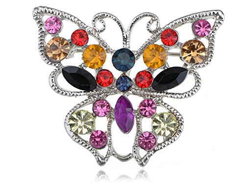 Alilang Vivid Ruby Green Black Colorful Crystal Rhinestone Butterfly Fashion Pin Brooch