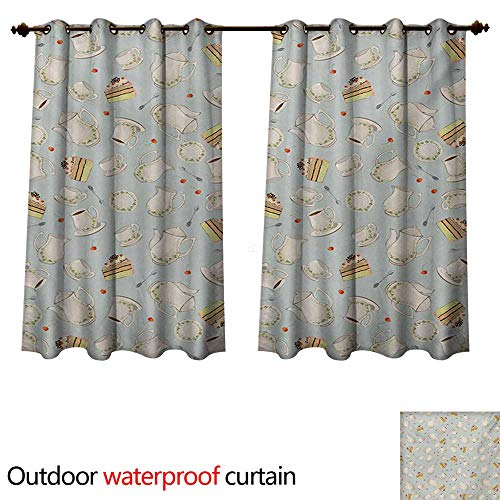 WilliamsDecor Tea Party Outdoor Curtain for Patio Coffee Pot Teapot Spoons Plates and Creamy Slices of Cake with Cherries W63 x L72(160cm x 183cm) ()