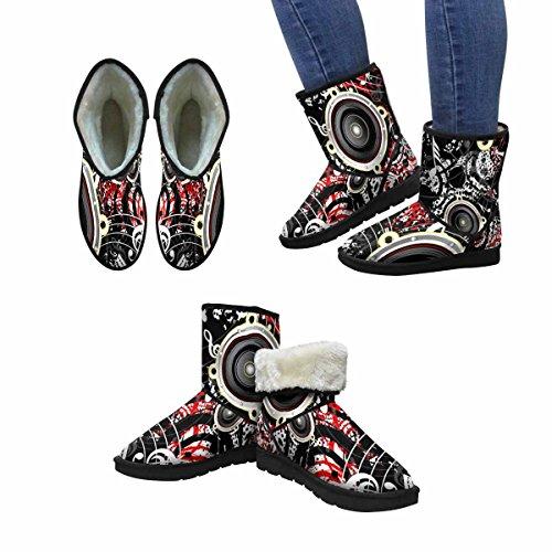 Interestprint Mujeres Snow Botas Musical Seamless Grunge Background Único Diseño Comfort Winter Botas Multi 1
