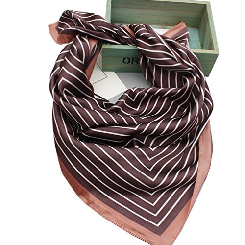 [Women's Fashion Soft Satin Square Scarf Head Neck Clothing Accessory (Stripes C2)] (Womens Accessories Shop)