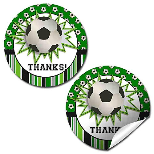 Soccer Labels - Soccer Themed Birthday Thank You Sticker Labels for Boys, 40 2
