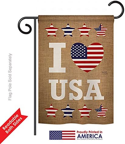 Amazon Com Breeze Decor G161067 I Love Usa Americana Patriotic Impressions Decorative Vertical Garden Flag 13 X 18 5 Printed In Usa Multi Color Garden Outdoor
