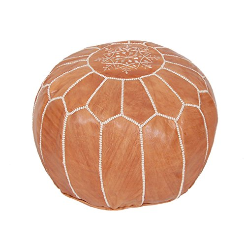 Moroccan Pouf Ottoman Footstool (Leather) Genuine Hand-Stitched Seating | Living Room, Bedroom, Sitting Area | Exclusive Designs (Tan) (Leather Ottoman Poof)