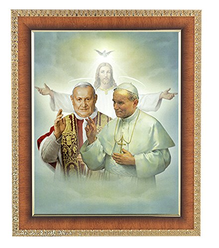 Saints John XXIII & John Paul II in a Lacquered and Polished Natural Tiger Cherry Finished Frame with Carved Gold Edges Italian Lithograph Under Glass. (Tigers Lithograph)