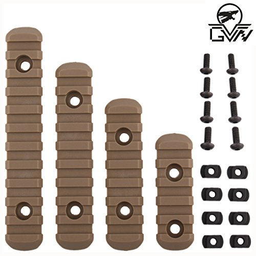 GVN M-Lok Polymer Rail Section 5,7,9,11 Slot Polymer Picatinny/Weaver Rail(4 Pieces Tan) by GVN