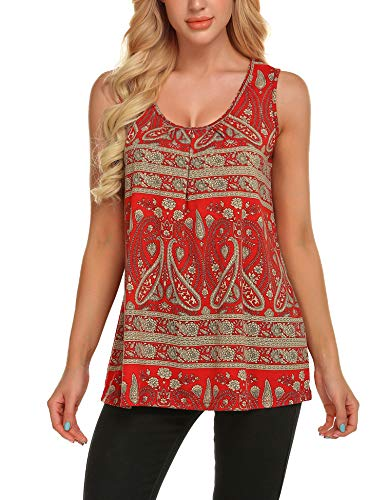 Zeagoo Women's Floral Print Loose Casual Flowy Tunic Tank Top Paisley Red XL
