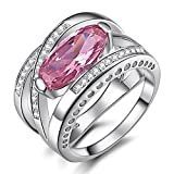 Caperci Sterling Silver Cross Big Large Stone Cubic Zirconia Created Pink Sapphire Ring Size 6