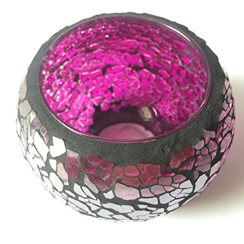 Stained Glass (Purple) Tea Light Candle Holders Mosaic Candle Holder is for Weddings and Home Décor