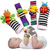 Cute Animal Soft Baby Socks Toys Wrist Rattles and