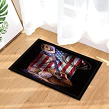 NYMB Western Bath Rugs,Cowboy Roper Boots with Guitar on American Flag, Non-Slip Doormat Floor Entryways Indoor Front Door Mat, Kids Bath Mat, 15.7x23.6in, Bathroom Accessories