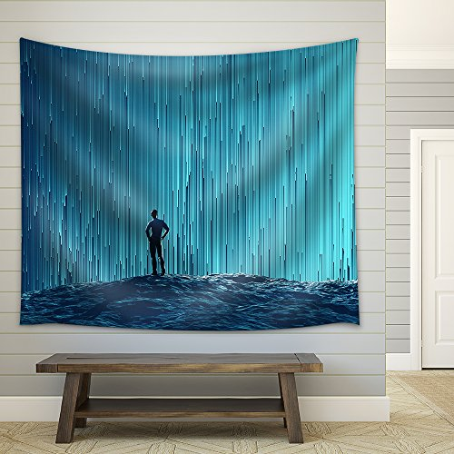 man looking at a digital flow Fabric Wall Tapestry