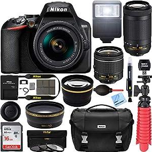 Nikon D3500 24.2MP DSLR Camera with AF-P 18-55mm VR Lens & 70-300mm Dual Zoom Lens Kit 1588 (Certified Refurbished) with 16GB Accessory Bundle
