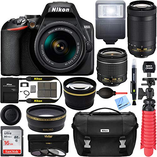 Nikon D3500 24.2MP DSLR Camera with AF-P 18-55mm VR Lens & 70-300mm Dual Zoom Lens Kit 1588 (Certified Refurbished) with 16GB Accessory Bundle