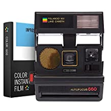 Impossible Polaroid 600 Sun 660 AF Camera with Auto Flash & Fixed Focus Lens (1376) - Black with Instant Lab Color Film for 600 Type and I-1 Cameras