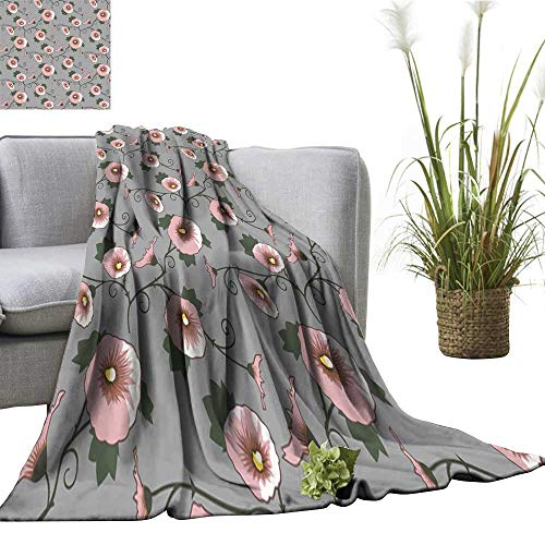 "Tidefree Warm Blanket Wallpaper with a Pink Flowers Pattern Traveling,Hiking,Camping,Full Queen,TV,Cabin 60"" Wx91 L"