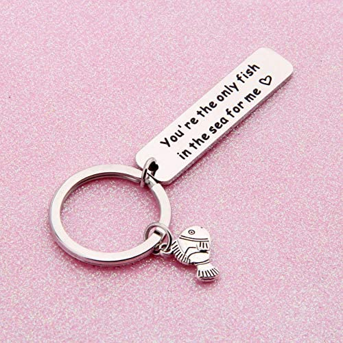 You/'re The Only Fish In The Sea For Me Keyring Key Chain Funny Valentines Day