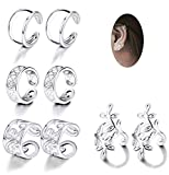 JOERICA 4 Pairs Silver Ear Cuff Earrings for Women Girls Clip on Fake Lip Cartilage Tragus Helix Body Jewelry Set