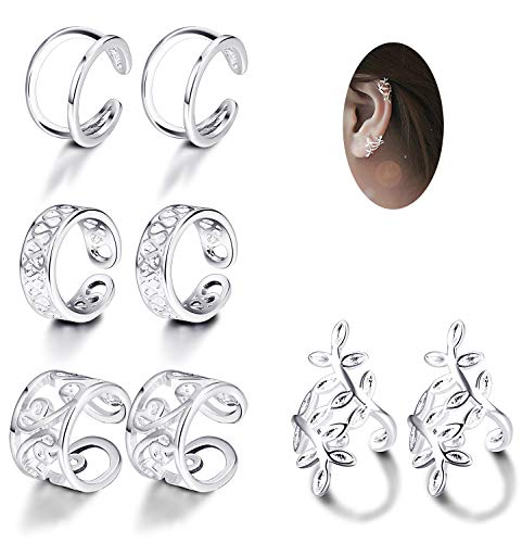 JOERICA 4 Pairs Silver Ear Cuff Earrings for Women Girls Clip on Fake Lip Cartilage Tragus Helix Body Jewelry -