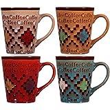 Home Essentials Home Essentials Set OF 4-quilt Design Coffee Mugs, , Multicolor
