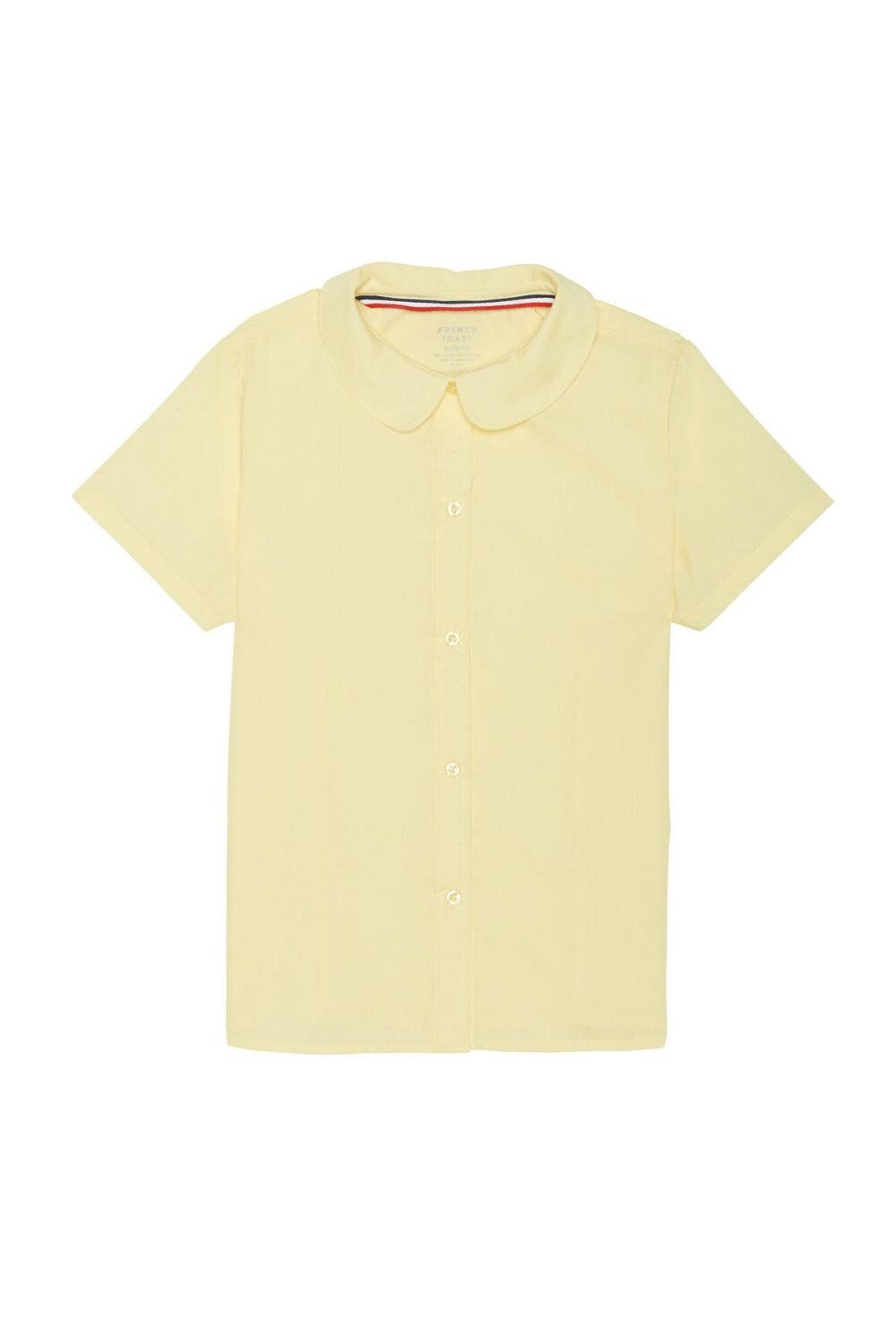 French Toast Little Girls' Short Sleeve Peter Pan Collar Blouse, Yellow, 5