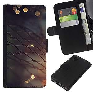LECELL--Cuero de la tarjeta la carpeta del tirón Smartphone Slots Protección Holder For LG Nexus 5 D820 D821 -- Valla metálica --