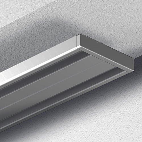 GARDUNA 120cm Gardinenschiene Vorhangschiene, Aluminium, silber, alu-silber eloxierte Oberfläche, 2-läufig oder 1-läufig (Wendeschiene)