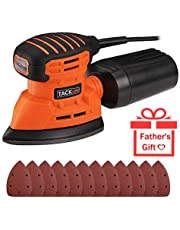 TACKLFE Detail Sander, 130W Compact Sander Machine for Wood, 12,000 OPM Sanders with Dust Collection, Electric Sander Including 12 PCS Sandpapers for Furniture Finishing/PMS01A