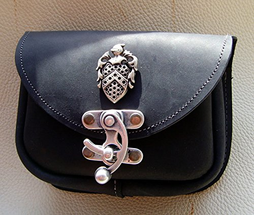 Gürteltasche Ritter Wappen Leder Farbe schwarz