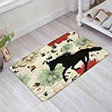 Animal Horse and Flower Doormat Indoor/Outdoor/Bathroom/Front Entrance Mats Rugs, Short Plush and Backing Rubber (PVC, 23.6x15.8inch)