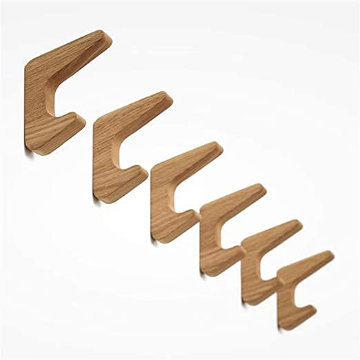 Perchero de pared Juego de 3 ganchos de madera montados en ...