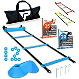 Pro Agility Ladder Cones - 15 ft Fixed-Rung Speed Ladder 12 Disc Cones Soccer, Football, Sports Training - Includes Heavy Duty Carry Bag, 4 Metal Stakes, 2 Agility Drills eBooks (Blue)