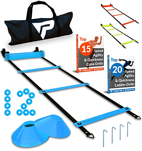 Image of the Pro Agility Ladder and Cones - 15 ft Fixed-Rung Speed Ladder with 12 Disc Cones for Soccer, Football, Sports Training - Includes Heavy Duty Carry Bag, 4 Metal Stakes, 2 Agility Drills eBooks (Blue)