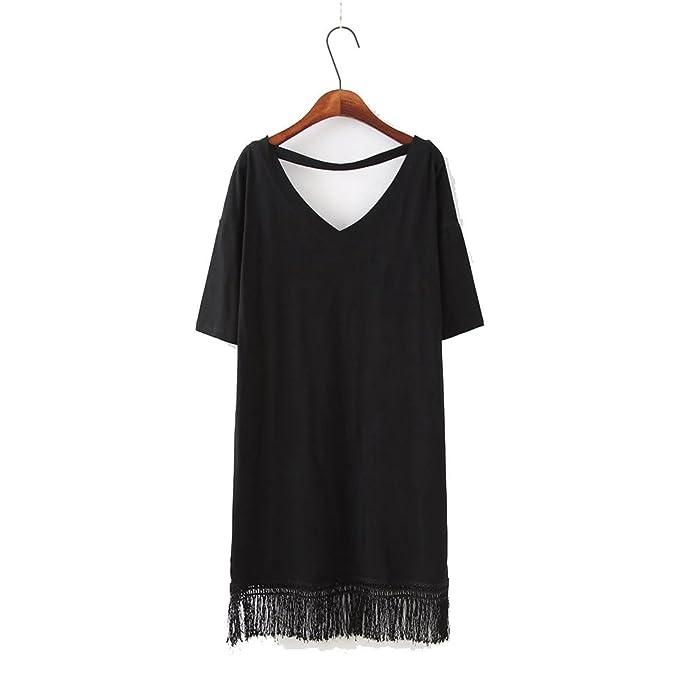 Sunny Dream Los Vestidos de Mujeres XL Color Sólido con Cuello EN V T-Shirt Personalizado Suelto el Ocio Creativo: Amazon.es: Ropa y accesorios