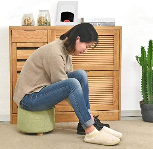 YUMUO Tabouret Table Basse Banc en Bois Massif Chaussures Chaussures Banc Mode Creative Carré Tissu Canapé Lavage À La Maison (Couleur: Vert)