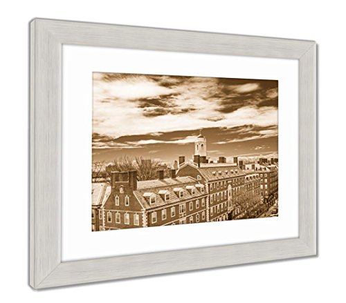 Ashley Framed Prints John Kennedy Street and Eliot House Belltower of Harvard Univers, Wall Art Home Decoration, Sepia, 40x34 (Frame Size), Silver Frame, AG5638036