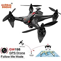 [Global Drone] GW198 Wide-angle HD Camera 5G WIFI Follow Me Ray Brushless Motor RC Quadcopter (Red)