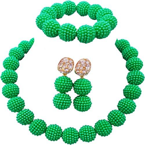 laanc Fashion Women 1 Rows Multicolor Plastic Imitation Pearl Nigerian Wedding Beads African Jewelry Sets - Plastic Bead Green