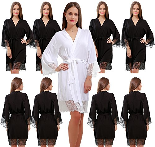 Set of 9 Women's Cotton Kimono Robes Wedding Party Gifts for bride and Bridesmaid with Lace Trim by GoldOath