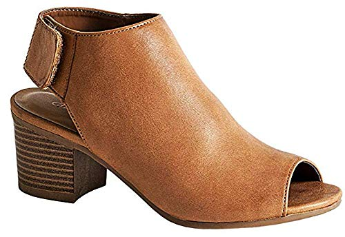 MVE Shoes Comfortable Perforated Flat Bootie - Casual Open Toe Low Stacked Heel - Cut Out Side Zipper Shoe, Rolla tan pu 8.5