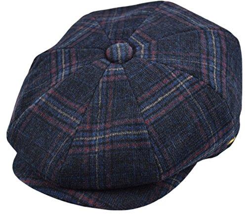 (Men's Wool Newsboy Cap, Herringbone Driving Cabbie Tweed Applejack Golf Hat (2321-Navy Plaid, Large))